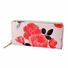 凯特黑桃Kate Spade PWRU5536 258玫瑰印刷局拉链长钱包CAMERON STREET ROSES lacey