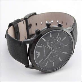 cc99f9f3e1d50 ... Leather strap chronograph watch AR2461 of the Emporio Armani oar black  color ...
