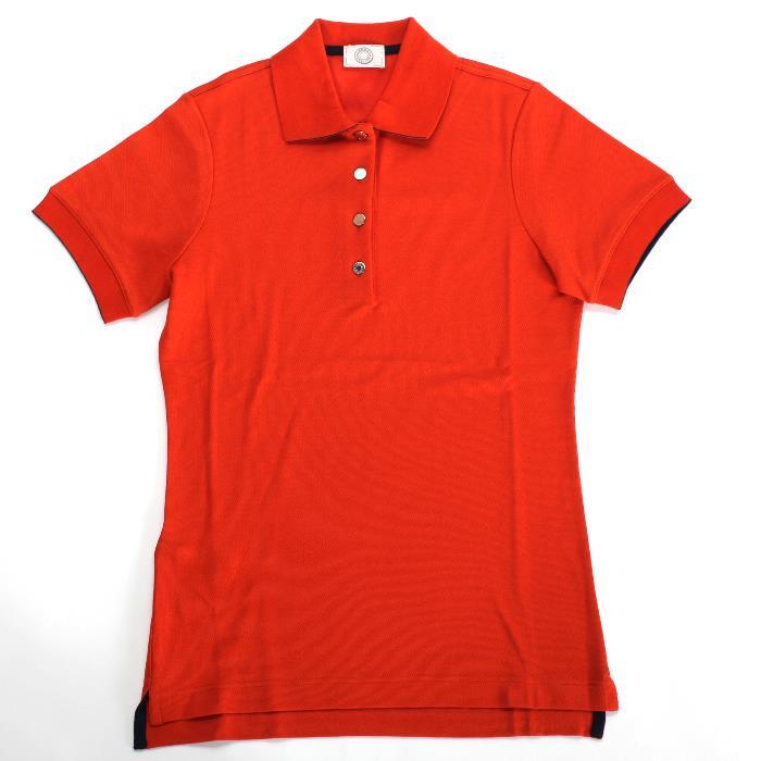 HERMES エルメス 半袖 ポロシャツ オレンジ H800270E クルードセルボタン ゴルフ 乗馬【新品・未使用・正規品】