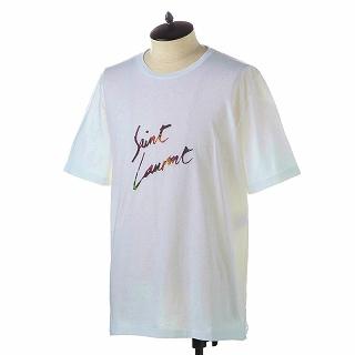 SAINT LAURENT PARIS サンローラン Tシャツ 553438 YBCL2 8486 NATUREL-MULTICOLOREホワイト【c】【新品・未使用・正規品】
