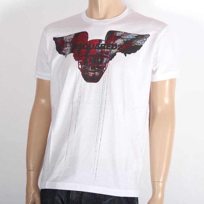 DSQUARED2 ディースクエアード 半袖Tシャツ ホワイト S71GD0806 新着 S22427 100 正規品 メンズ 売れ筋 買い取り ロゴプリント 新品 未使用