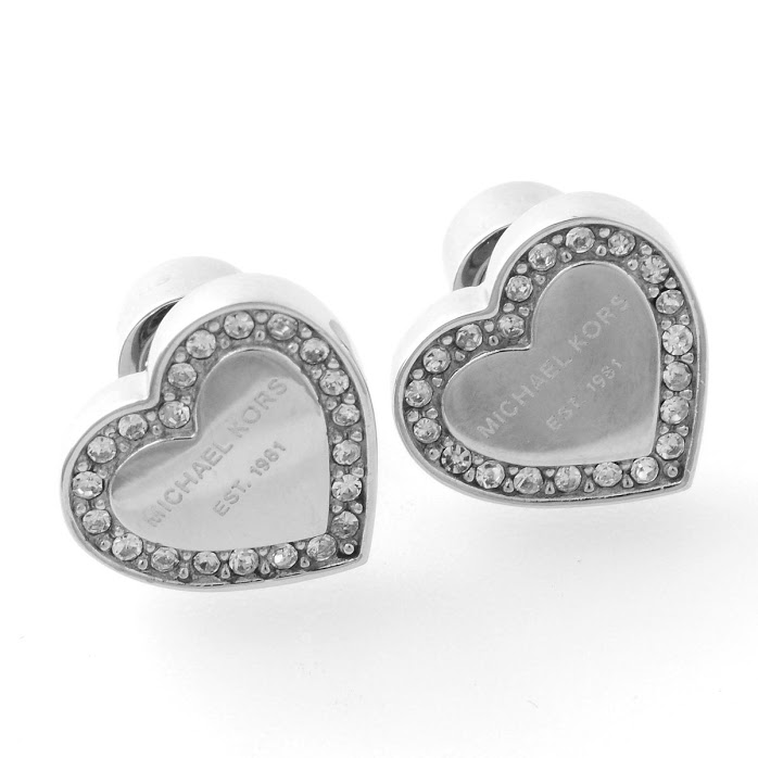 Michael Kors Pave Heart Stud Earrings Silver Tone Mkj3966040 Earring