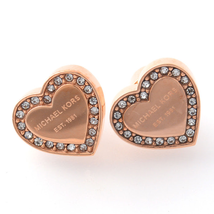 Michael Kors Pave Heart Stud Earrings Rose Gold Tone Mkj3967791 Earring