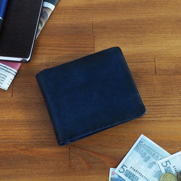 【送料無料】la GALLERIA:Arrosto アロースト:シャドー仕上げ 小銭入れ付き二つ折り財布[2971] *牛革/メンズ革小物/ユニセックス/アンティーク/色:アイボリー・レッド・キャメル・チョコ・ダークブルー*