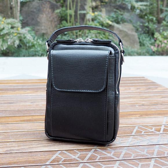 [青木鞄] バルボス:2wayミニショルダーバッグ[4303] 【送料無料】 Lugard BALBOS *日本製 牛革 エンボスレザー ハンドバッグ 鞄 メンズ ブラック* 【ラッキーシール対応】