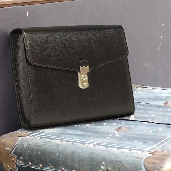 【現品限り】[青木鞄] バルボス:A4対応 鍵付 クラッチバッグ[4413] 【送料無料】 Lugard BALBOS *日本製 牛革 エンボスレザー ハンドバッグ 鞄 メンズ ブラック* 【ラッキーシール対応】