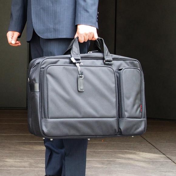 [エンドー鞄] リューズ・ワン A3対応 2wayブリーフケース[9854] 【送料無料】 RYU'S ONE 青木鞄 *1680Dポリエステル 2室タイプ 肩掛け ビジネスバッグ メンズ ブラック* 【ラッキーシール対応】