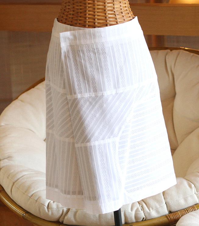 ☆選べるレディース服3点福袋対象商品☆【お買い得!】軽やかに♪レーシーストライプスカート(返品・交換・ギフト包装不可)