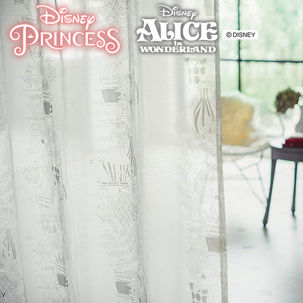 Disney ディズニー ミラーレースカーテンン プリンセス&アリス巾:101cm~200cm 丈:80cm~260cm 【1枚入り】