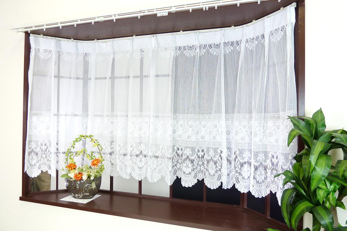 出窓用デザインレースカーテン 既製レースカーテン スタイルレースカーテン メーカー公式 ラッピング無料 リビングや子供部屋や寝室にも ウォッシャブル 華やか ホワイト 丈85cm 丈105cm 2枚セット 最安値挑戦 出窓カーテン レース素材のおしゃれでかわいい出窓用レースカーテン 日本製 洗濯機使用可 高さが丈105cmと丈85cmの2種類から選べる 2枚組の両開きタイプ ストレートタイプの裾形状 あす楽 x 合わせやすいベーシックな花柄 既製カーテン ラルク 普通窓にも取付可 幅100cm
