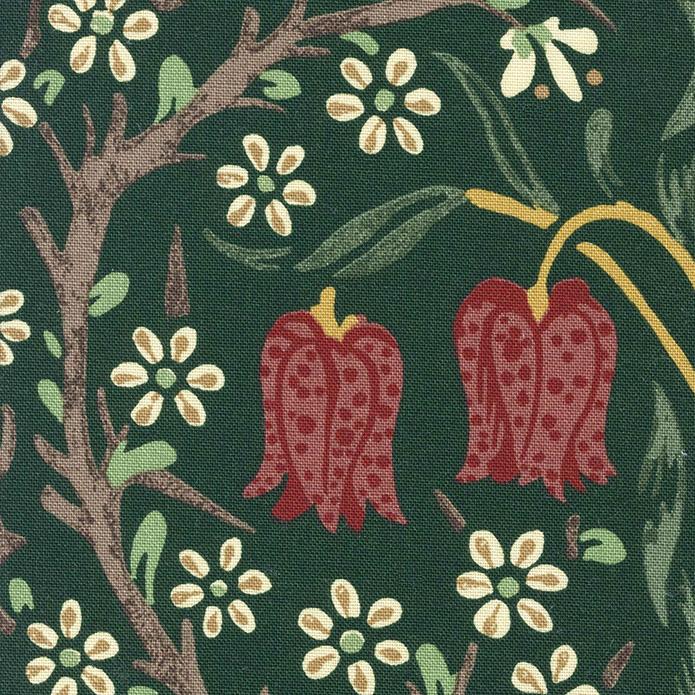 英国カーテン ウィリアム・モリス William Morris ブラックトーン オーダーカーテン 英国ブランドカーテン イギリス 花柄 ボタニカル フラワー ヴィンテージ おしゃれ 綿100% 天然素材 エレガンス アンティーク モスグリーン