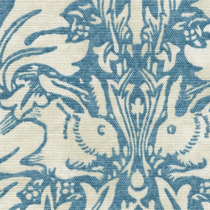 英国カーテン ウィリアム・モリス William Morris ブレアラビット ブルー オーダーカーテン 英国ブランドカーテン イギリス うさぎ 鳩 動物 アニマル ヴィンテージ おしゃれ 綿麻 天然素材 エレガンス アンティーク