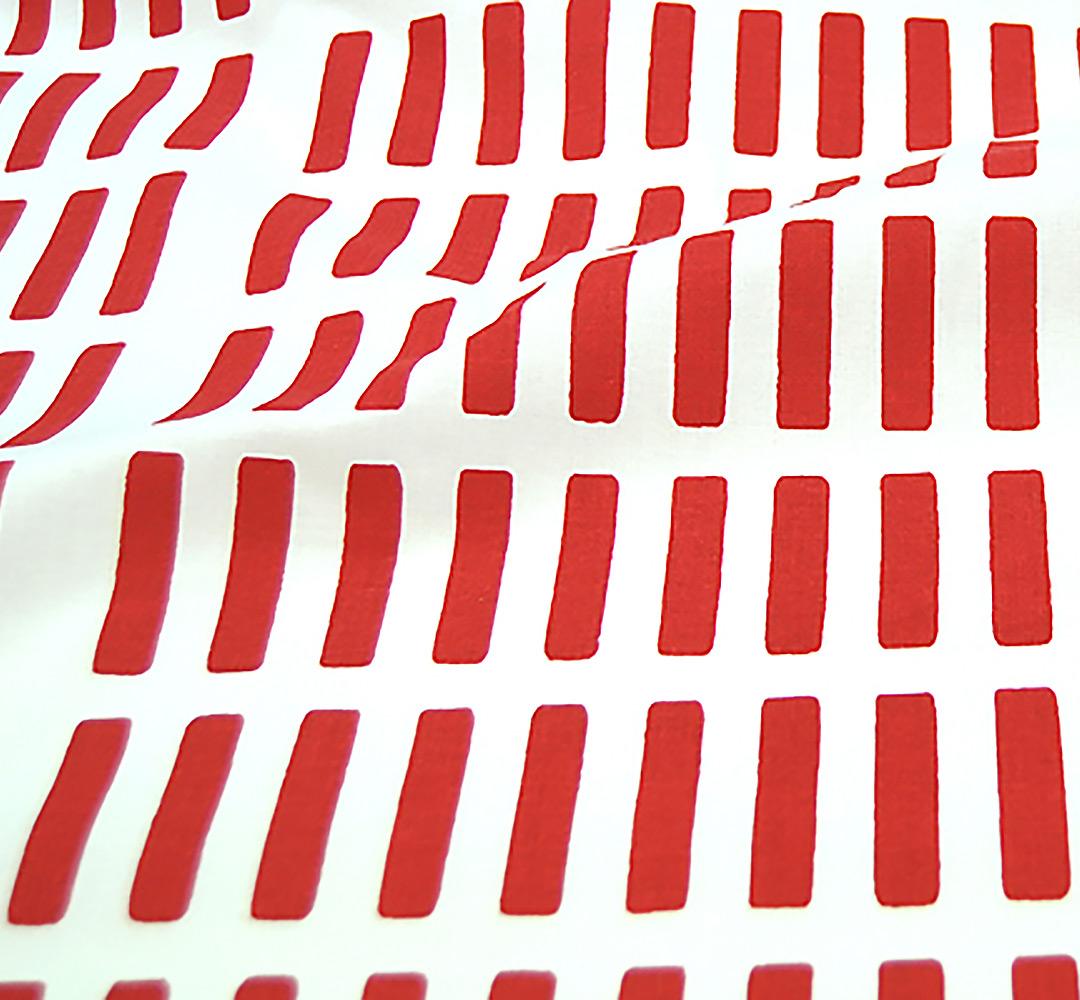 北欧カーテン アルテック Artek シエナ レッド オーダーカーテン 北欧ブランドカーテン 幾何学 キッチン パターン 手書き モダン コットン フィンランド おしゃれ かわいい 赤