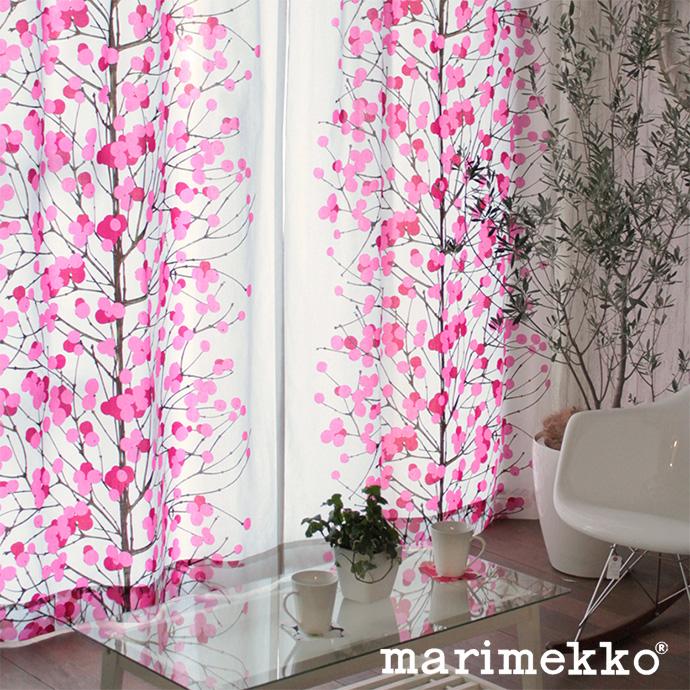 シェードカーテン ローマンシェード オーダー マリメッコ marimekko ルミマルヤ ピンク 北欧 小窓 腰窓 おしゃれ かわいい 柄 花柄 綿 コットン