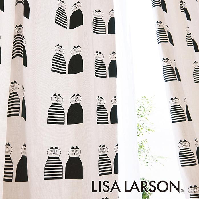 北欧カーテン リサラーソン LISA LARSON ミンミ ブラック オーダーカーテン 北欧ブランドカーテン 猫 ネコ 動物 アニマル ポップ スウェーデン おしゃれ かわいい リサ・ラーソン 綿100% プリント 白 黒 モノトーン
