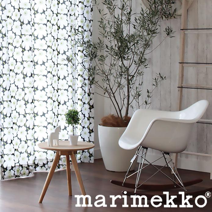 北欧カーテン マリメッコ marimekko ミニウニッコ ホワイト MINI UNIKKO 北欧ブランドカーテン オーダーカーテン かわいい おしゃれ 花柄 フラワー MAIJA ISOLA けしの花 定番人気 マイヤ・イソラ 白 モノトーン