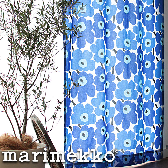 シェードカーテン ローマンシェード オーダー マリメッコ marimekko ピエニウニッコ ウニッコ pieni unikko ブルー 北欧 小窓 腰窓 おしゃれ かわいい 柄 綿 コットン