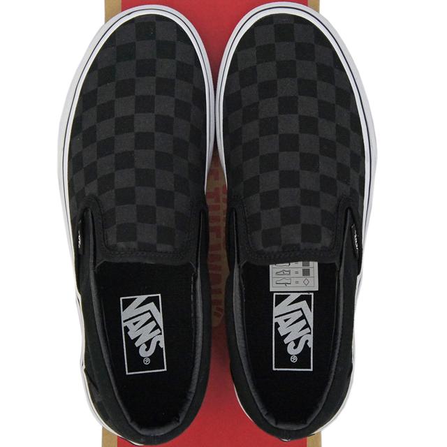 VANS vans station wagons Classic Slip-On (Black Black Checkerboard 23-30cm) skateboarding  skateboard classical music slip-ons canvas check USA plan shoes ... 209a6ae46