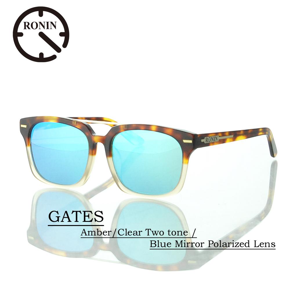 ロニン サングラス 偏光レンズRonin Eyewear ロニンアイウェアー UVカット GATES Amber/Clear Two tone / Blue Mirror Polarized Lens