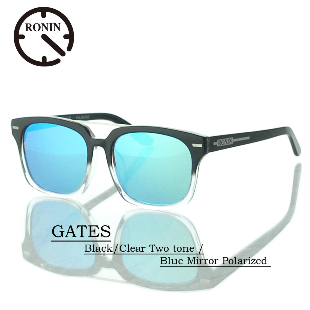 ロニン サングラス 偏光レンズRonin Eyewear ロニンアイウェアー UVカット GATES Black/Clear Two tone / Blue Mirror Polarized Lens