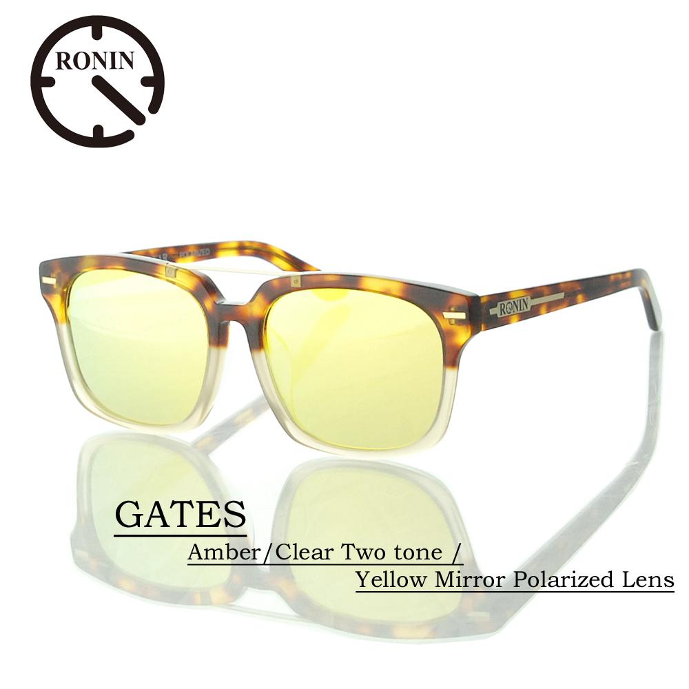 UVカット サングラス 偏光レンズRonin Eyewear ロニンアイウェアー GATES Amber/Clear Two tone / Yellow Mirror Polarized Lens