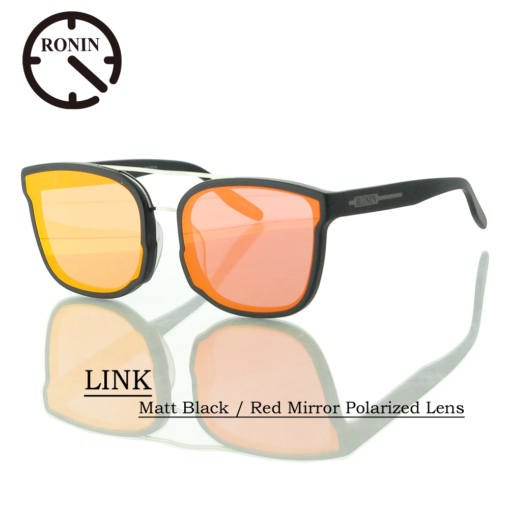 UVカット サングラス 偏光レンズRonin Eyewear ロニンアイウェアー LINK Matt Black / Red Mirror Polarized Lens