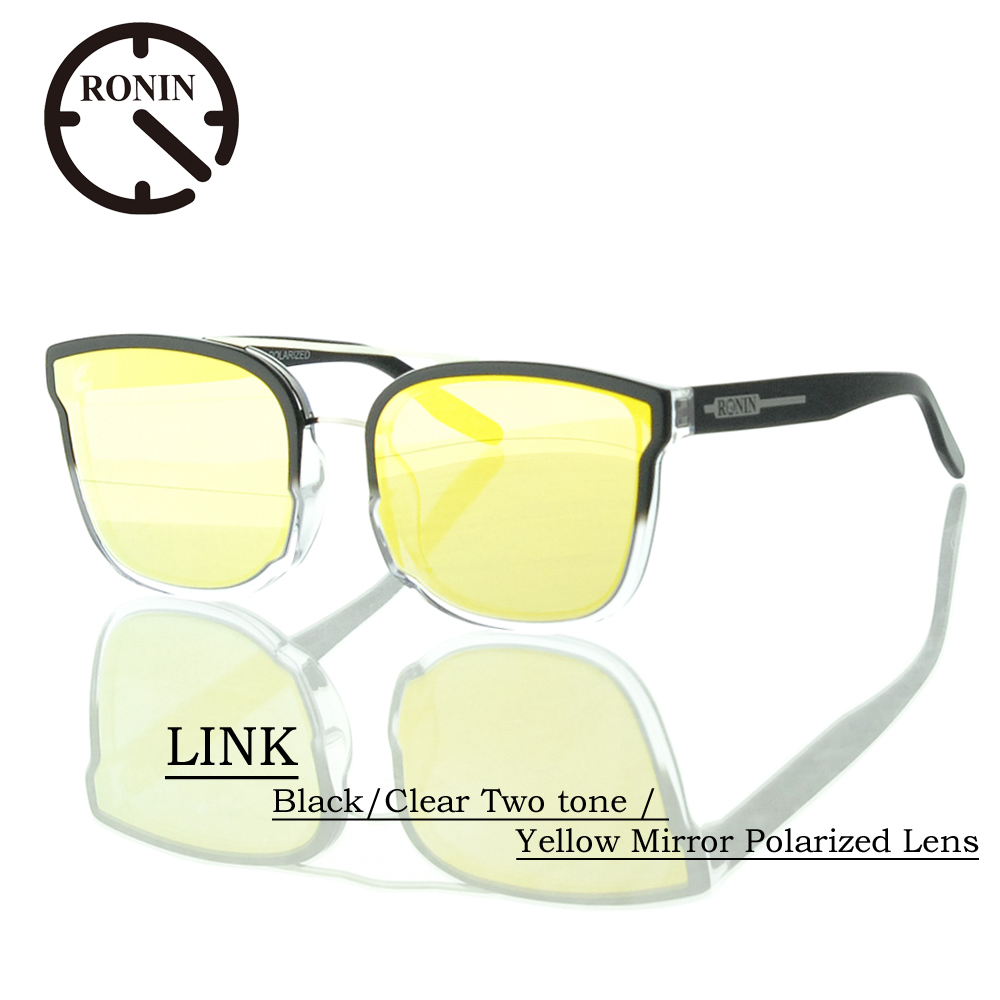UVカット サングラス 偏光レンズRonin Eyewear ロニンアイウェアー LINK Black/Clear Two tone / Yellow Mirror Polarized Lens