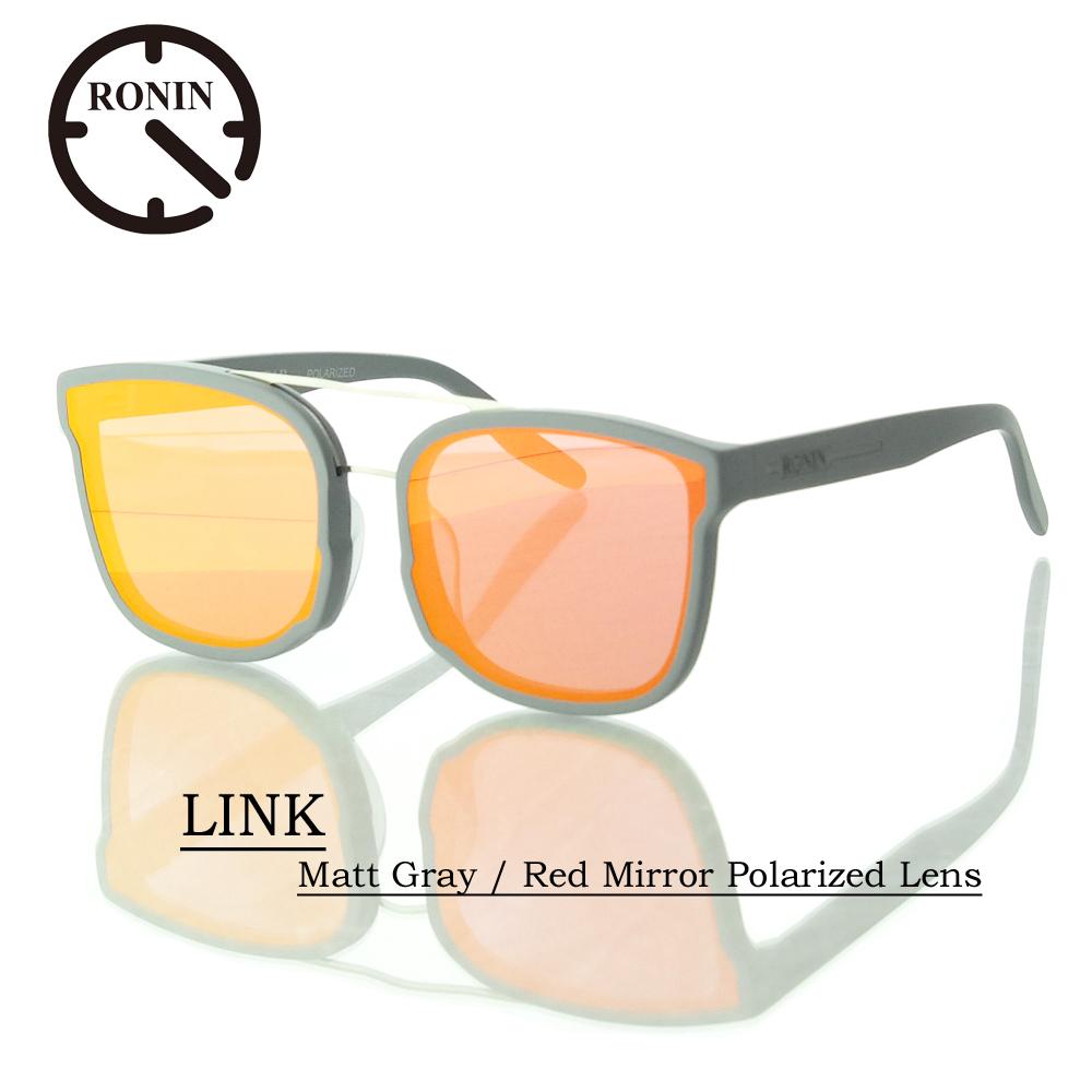 UVカット サングラス 偏光レンズRonin Eyewear ロニンアイウェアー LINK Matt Gray / Red Mirror Polarized Lens