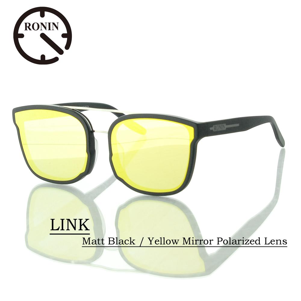 UVカット サングラス 偏光レンズRonin Eyewear ロニンアイウェアー LINK Matt Black / Yellow Mirror Polarized Lens