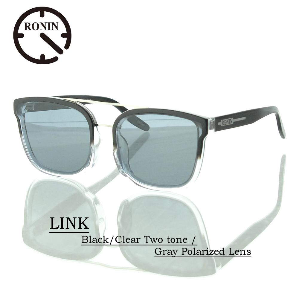 UVカット サングラス 偏光レンズRonin Eyewear ロニンアイウェアー LINK Black/Clear Two tone / Gray Polarized Lens