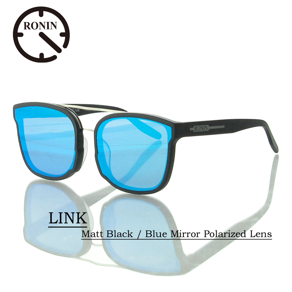 UVカット サングラス 偏光レンズRonin Eyewear ロニンアイウェアー LINK Matt Black / Blue Mirror Polarized Lens