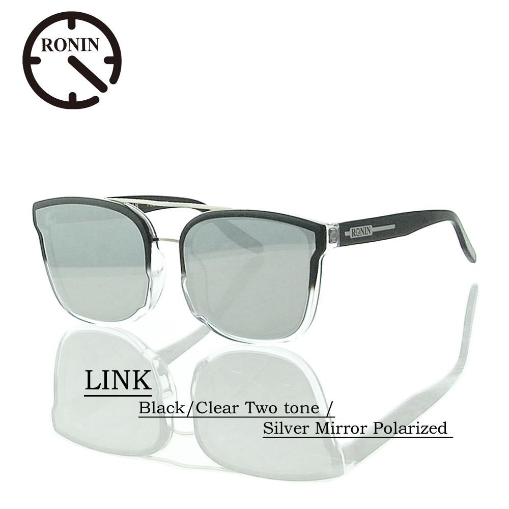 UVカット サングラス 偏光レンズRonin Eyewear ロニンアイウェアー LINK Black/Clear Two tone / Silver Mirror Polarized Lens