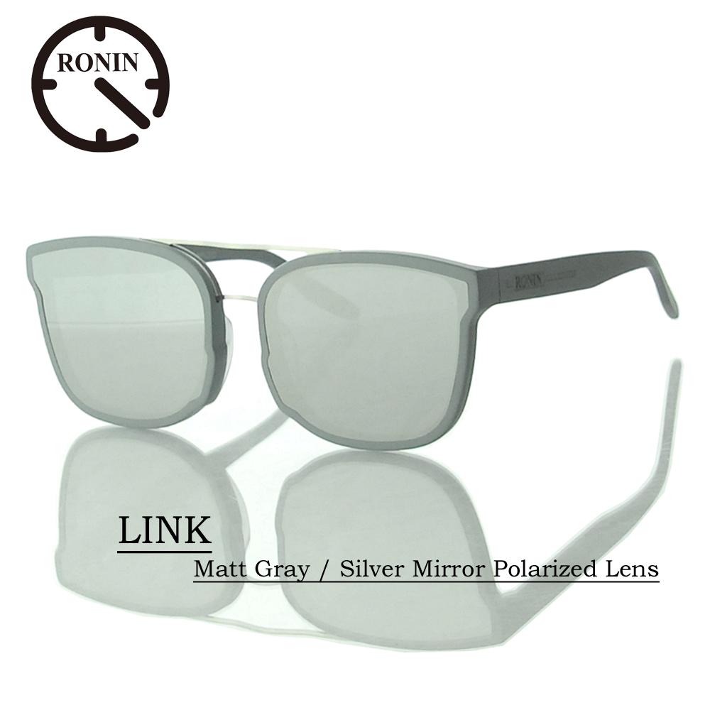 UVカット サングラス 偏光レンズRonin Eyewear ロニンアイウェアー LINK Matt Gray / Silver Mirror Polarized Lens