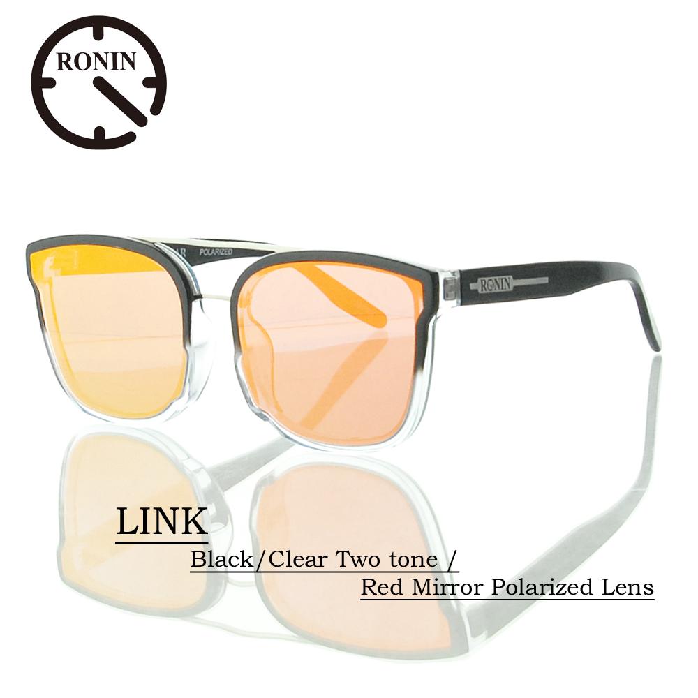UVカット サングラス 偏光レンズRonin Eyewear ロニンアイウェアー LINK Black/Clear Two tone / Red Mirror Polarized Lens
