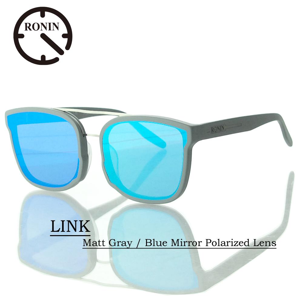 UVカット サングラス 偏光レンズRonin Eyewear ロニンアイウェアー LINK Matt Gray / Blue Mirror Polarized Lens