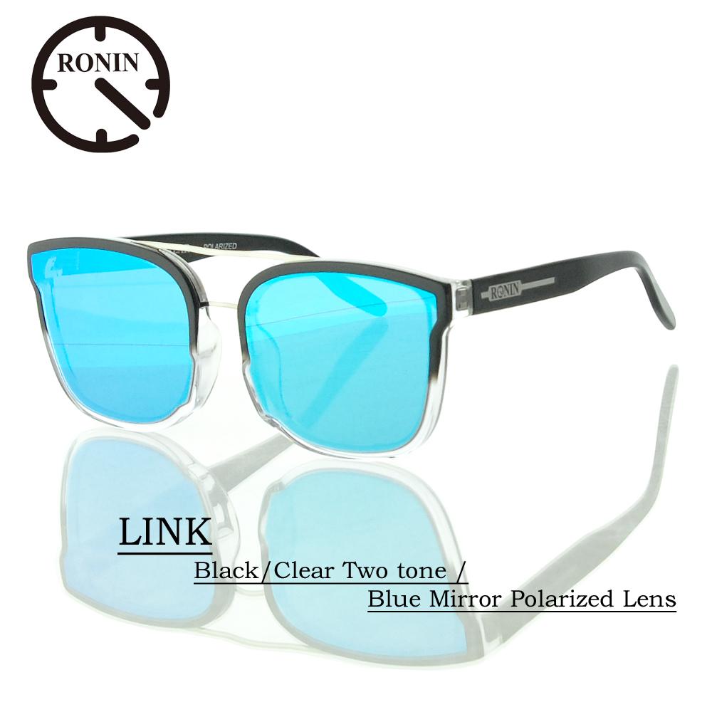 UVカット サングラス 偏光レンズRonin Eyewear ロニンアイウェアー LINK Black/Clear Two tone / Blue Mirror Polarized Lens