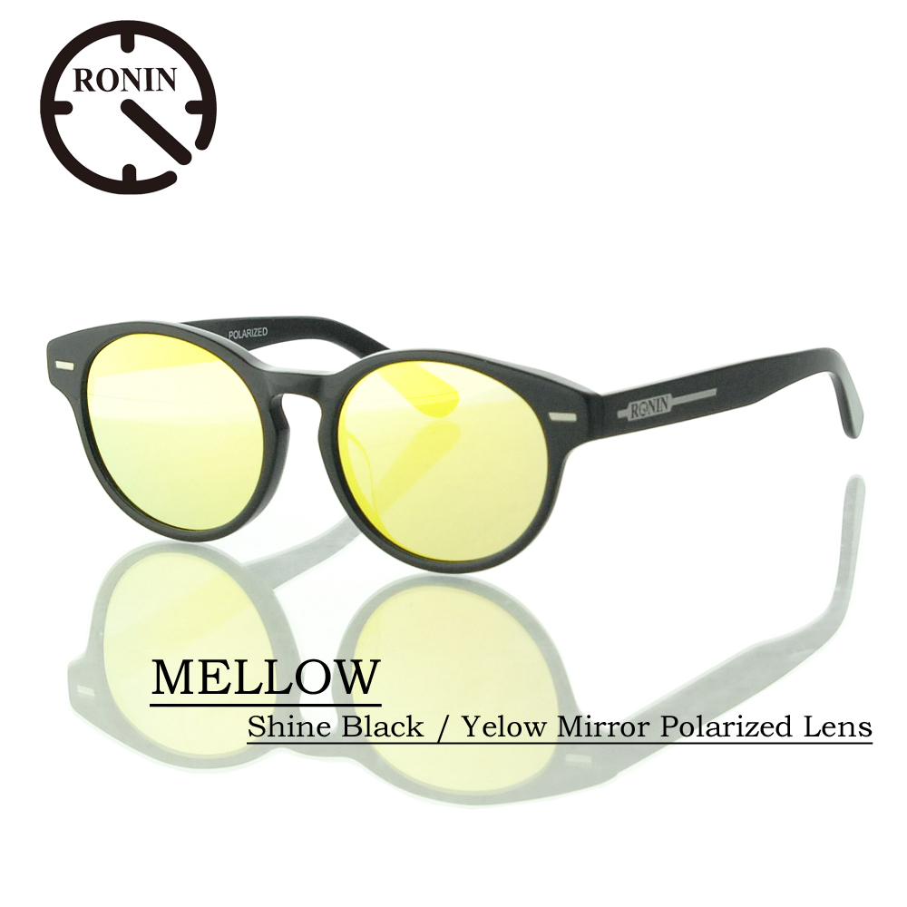 UVカット サングラス 偏光レンズRonin Eyewear ロニンアイウェアー MELLOW Shine Black / Yelow Mirror Polarized Lens