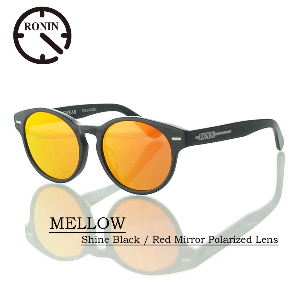 ロニン サングラス 偏光レンズRonin Eyewear ロニンアイウェアー UVカット MELLOW Shine Black / Red Mirror Polarized Lens