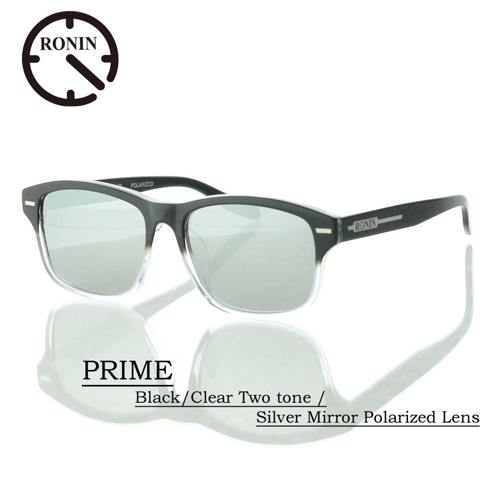 ロニン サングラス 偏光レンズRonin Eyewear ロニンアイウェアー UVカット PRIME Black/Clear Two tone / Silver Mirror Polarized Lens