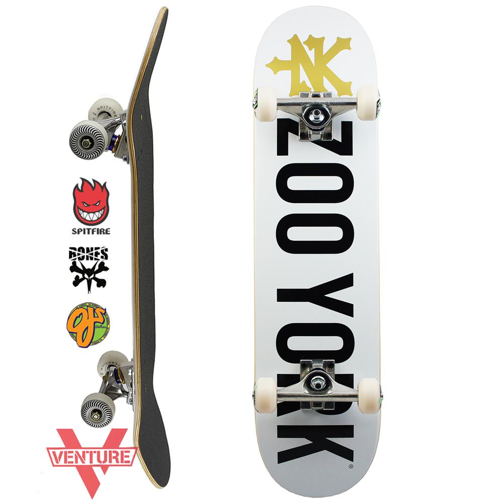 スケボー コンプリート スケートボード セット ZOO YORK ズーヨーク PRO COMPLETE PHOTO INCENTIVE White 7.75inch ベンチャー 足回り 選べる ウィール
