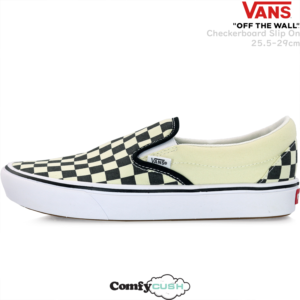 Vans vans shoes slip ons shoes ComfyCush Checkerboard Slip On black オフホワイトヴァンズチェックブランドコンフィクッシュ lightweight comfortable sneakers USA plan