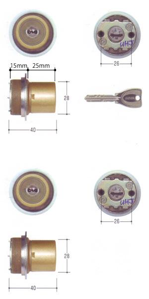 2個同一セットMIWA PRシリンダー LIXタイプ(全長40mm仕様) 塗装ゴールド色MCY-509TE0 LIX 02P09Jul16