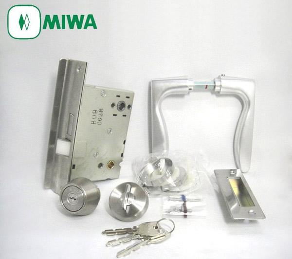 三和シャッター向け MIWA SWLSP(LSP) レバーハンドル錠セット U9 ドアノブ バックセット64mm/スペーシング80mm主な使用ドア:アパート マンション 三和シャッター 02P09Jul16