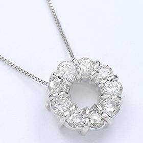 ダイヤモンド ネックレス K10WG・ダイヤ0.5ct(SIクラス・鑑別書カード付) サークルペンダント(ネックレス)