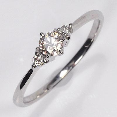婚約指輪 プラチナ・ダイヤモンド0.2ct+0.05ct(SIクラス・鑑別書カード付) エンゲージ3ストーンリング 【 婚約指輪 】【 プロポーズリング 】