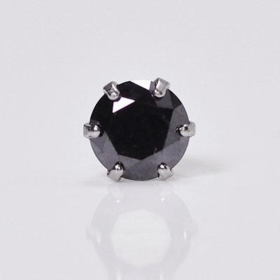 プラチナ・ブラックダイヤモンド0.2ct シングルピアス 片耳用 メンズ