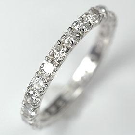 プラチナ pt900ダイヤモンド リング エタニティー 鑑定付 プラチナ・ダイヤ1.0ct(SIクラス・鑑別書付) エタニティーリング(指輪)天然ダイヤ
