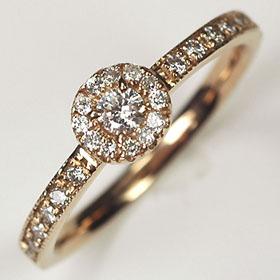 ダイヤモンド リング K18PG・ダイヤ0.25ct(SIクラス・鑑別書カード付) アンティークゴージャスリング(指輪) ダイヤモンド指輪