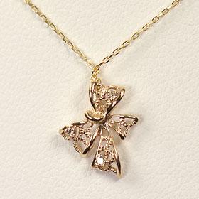 ダイヤモンド ネックレス イエローゴールド K10YG・ダイヤモンド0.02ct 透かしリボンペンダント