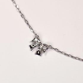 ダイヤモンド ブレスレット K10WG・ダイヤモンド0.01ct リボンブレスレット